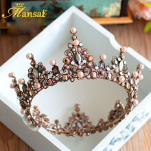Hot Sale Luxury Vintage Tiara Crown Queen Tiaras Round European Wedding Tiaras Bronze Large Crowns Cosplay Hair Jewelry HG296
