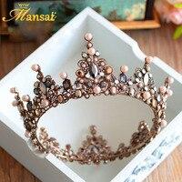 Sıcak Satış Lüks Vintage Tiara Taç Kraliçe Tiaras Yuvarlak Avrupa Düğün Tiaras Bronz Büyük Taçlar Cosplay Saç Takı HG296