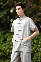 Китайский Ветер Китайский старый грубый Костюм Танг мужская с коротким рукавом 2525 4 куртка старше Половина Рубашка с рукавами/костюм