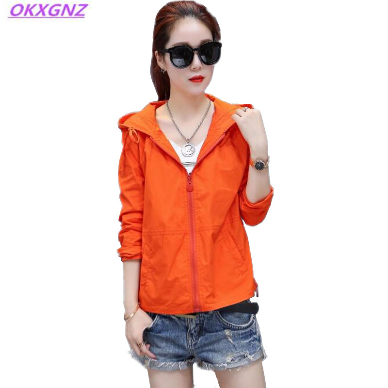 OKXGNZ New Spring Women Short Coat2017 Fashion Solid color Hooded Cardigan Student Coat Loose Zipper Plus Size Women Windbreaker