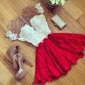 2016 Женщины Sexy Кружева Hollow Платье Летний Стиль Перспективные Платья О-Образным Вырезом Случайные Vestidos платье L85