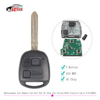 KEYECU Replacement key Remote Car Key Fob 2 Button 433MHz 4C Chip for Toyota RAV4 Corolla Yaris P/N:60081