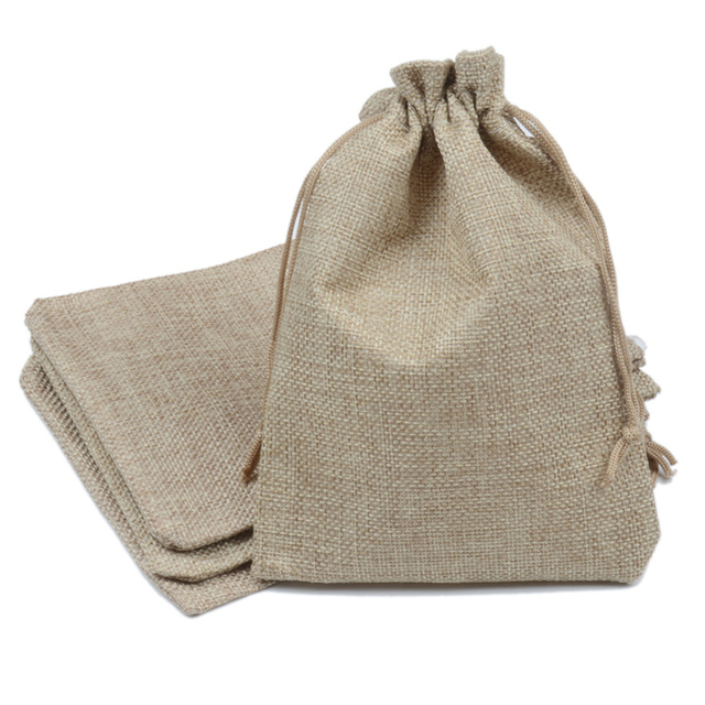50pcs 13x18cm Natural Color Jute Bag Burlap Drawstring Bags Candy Gift Beads Jewelry For Storage