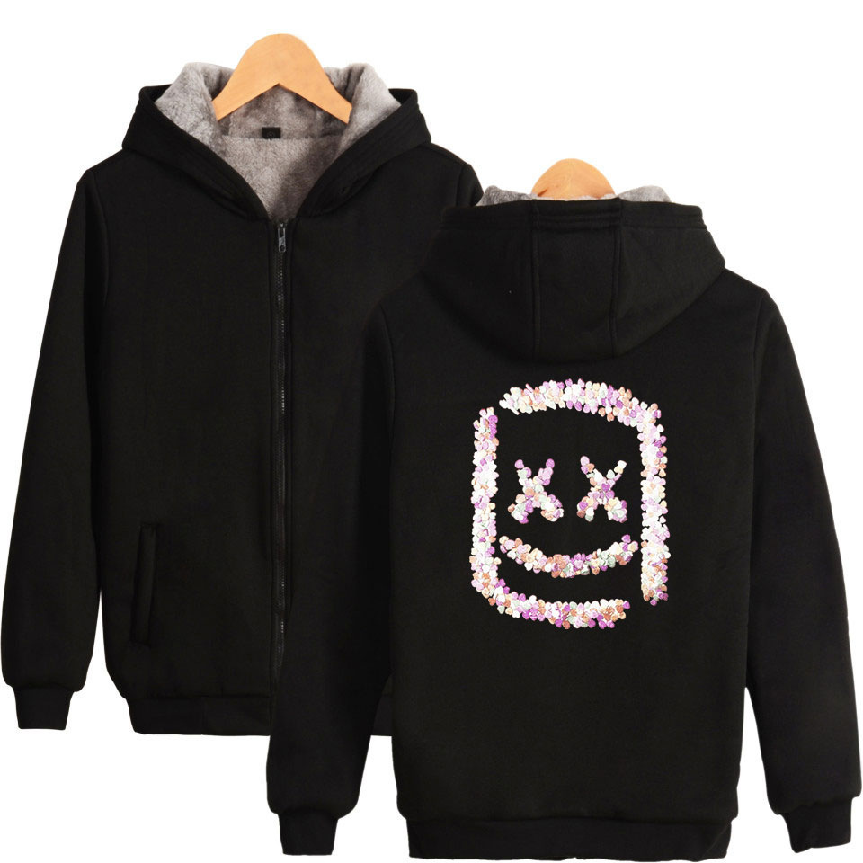 DJ Marshmello Funny Hoodies Men 2019 Winter Thick Warm Fleece Zipper Hooded Sweatshirt Hip Hop Hoodie Men's Hoody Coat Tracksuit