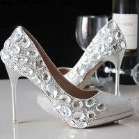 Lente zomer nieuwe kristal trouwschoenen bruid schoenen water boor zilver dunne hak hoge hak wees elegante schoenen