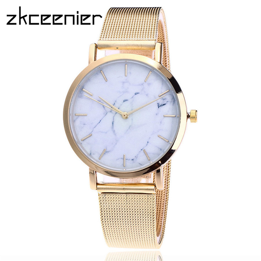 Top Sales Silver And Gold Color Mesh Brand Creative Marble Wrist Watch Casual Women Quartz Watches Gift Relogio Feminino