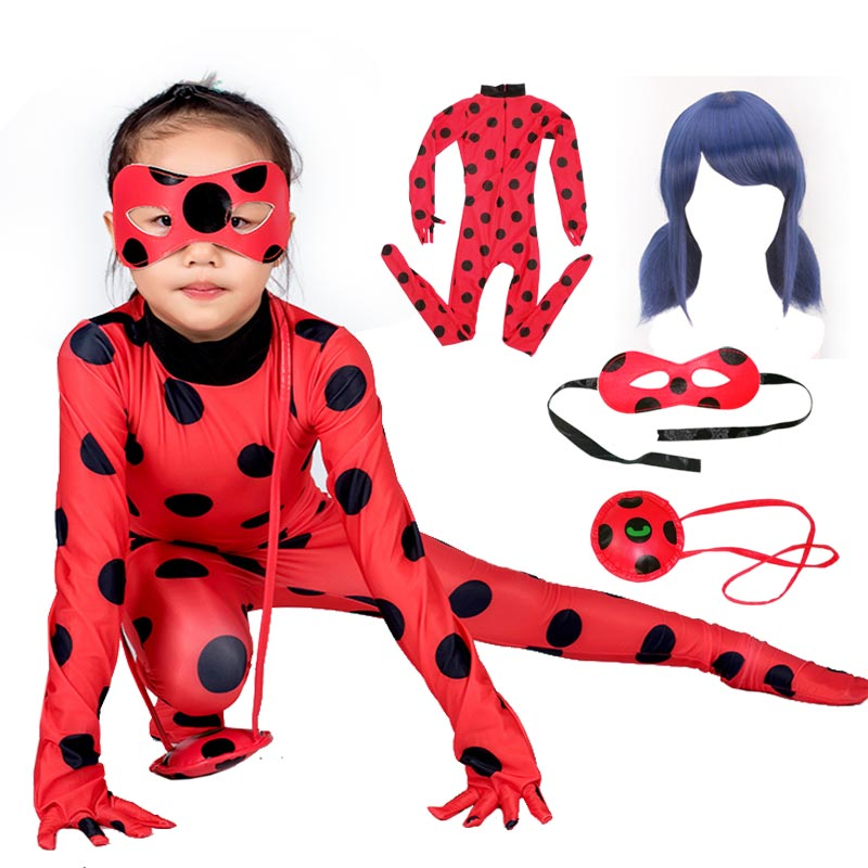 Fantasia Spandex Lady bug with Bag Wig Eye Mask Cosplay Costume  Adult Children LadyBug Halloween Costumes for Kids Girls