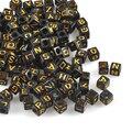 400 шт. Смешанные черные и золотые акриловые бусины Алфавит/буквы Квадратные бусины Пони для изготовления ювелирных изделий 6x6 мм YKL0571