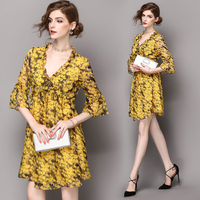 Women S Clothing 2017 Online Shopping Yellow Polyester Lotus Leaf Collar Printed Leaf Trumpet Seven Point