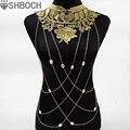 Collar de Cadena Del Cuerpo Del oro Flor Del Cordón Collares Sexy Cuerpo Cadenas Mujeres Atan Collar de La Joyería Elegante Del Partido