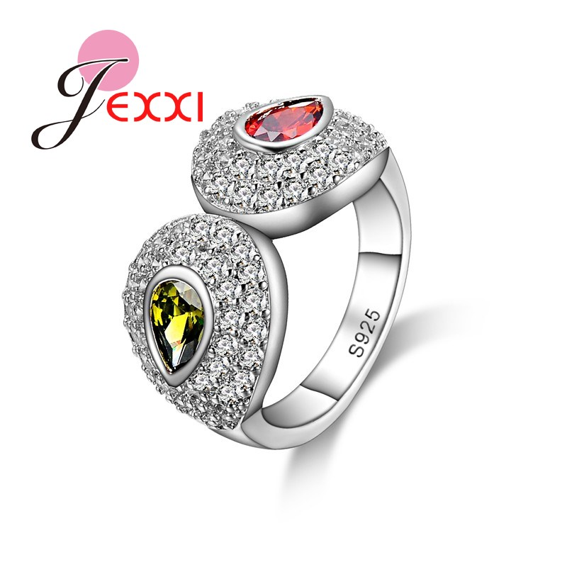 JEXXI Fashion Bridal Jewerly 925 Sterling Silver Wedding Engagement Ring For Women/Girl Luxury Brand Fashion Rings For Party