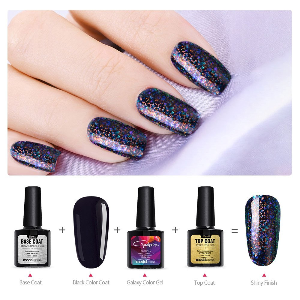 Modelones Shiny galaxy Nail Gel Polish Colorful Glitter Gel Polish ...