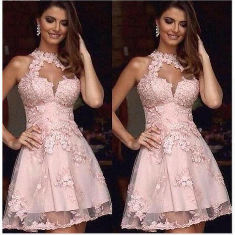 Luxury Pink Tulle   Cocktail     Dresses   2019 Evening Party Gowns Appliques Off Shoulder Short Prom   Dresses   Vestido De Festa Curto