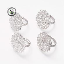 Латунь филигрань заготовки для колец, регулируемый, без свинца, без кадмия и никеля, цвет металла, покрытие, Размер: кольцо: 18~ 19 мм в