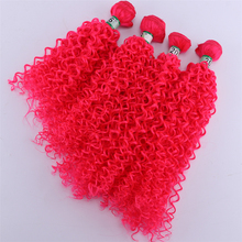 Color Pink 4 Pieces/pcs Afro Kinky Curly Hair weave Synthetic Hair extension Tissage fiber hair bundle