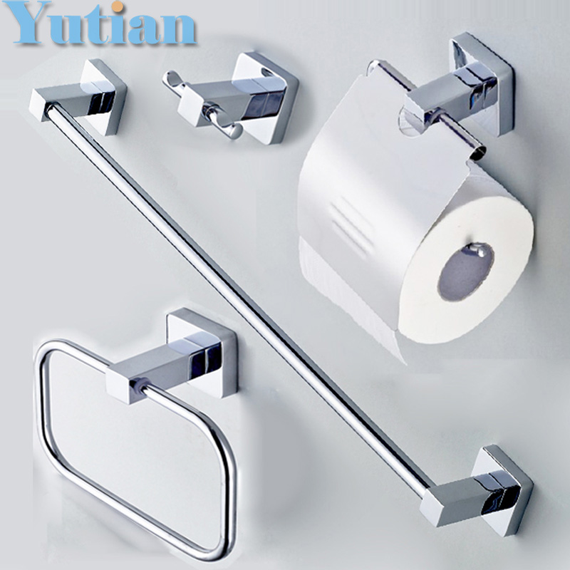 Free shipping 304 stainless steel bathroom accessories set robe hook paper holder towel bar for Stainless steel bathroom accessories