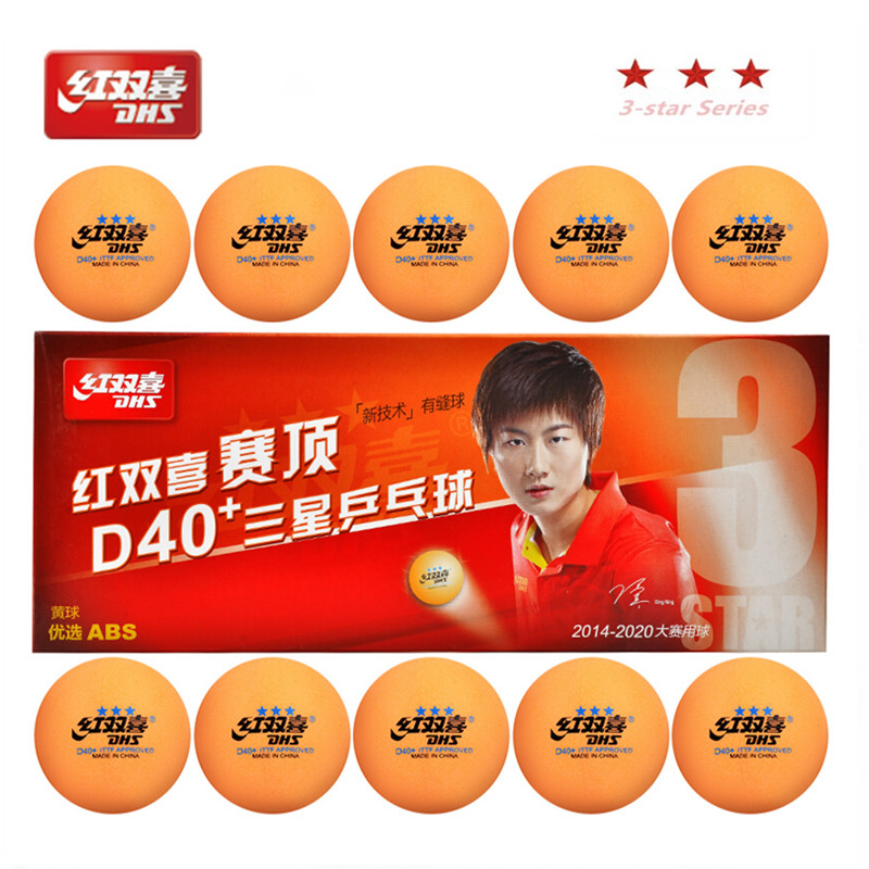 DHS 2018 new 3-star d40+ orange table tennis balls 3 star seamed ABS balls plastic poly ping pong balls