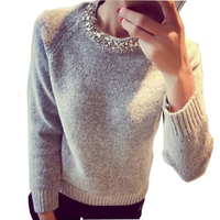 2016 Fashion Women Sweater Beading O Neck Solid Casual Slim Ladies Cashmere Sweater Pullover Spring Autumnn