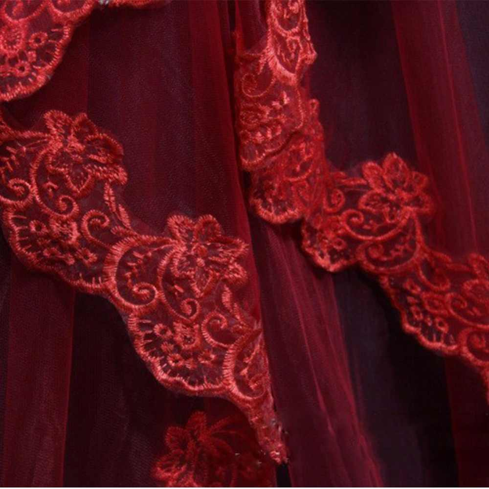 Mariage שכבה אחת התחרה Edge לבן שנהב Catherdal רעלה ארוך כלה רעלה זול חתונה אביזרי Veu de Noiva