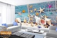 Custom 3D peace wallpaper mural Mediterranean art seamen sea star shell conch fishing net tv sofa bedroom living room background