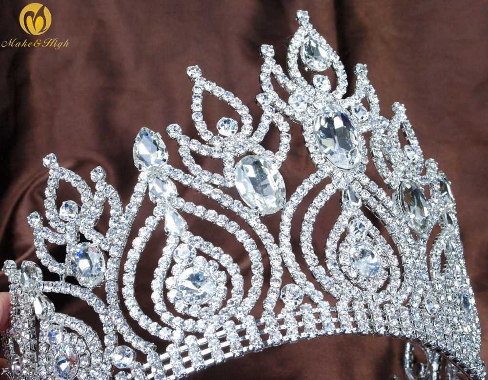 Beauty Pageant Hair Tiaras Crowns Crystal Rhinestone Large Headpiece Silver Plated Bridal Prom Costumes Fashion Accessories