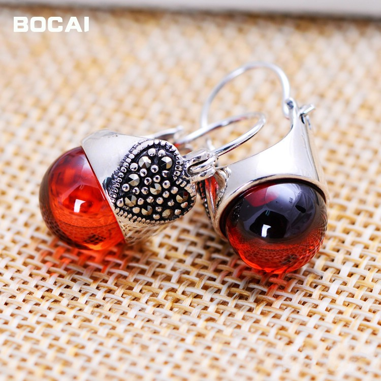 цена на S925 silver jewelry wholesale jewelry Vintage Silver Garnet Earrings Earrings mosaic female factory direct mixed batch