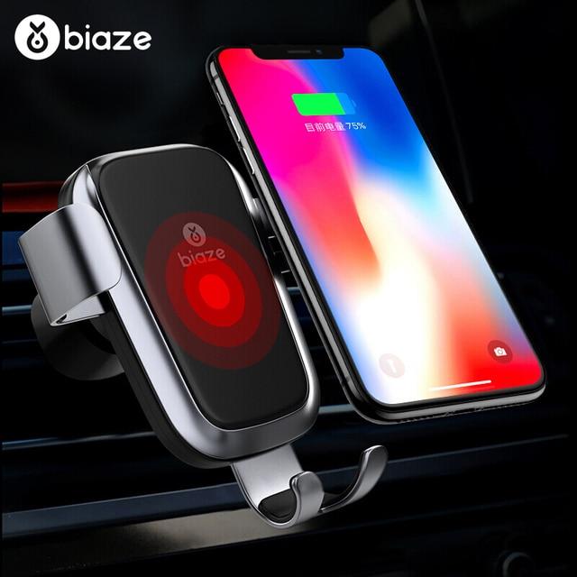 Biaze Car Air Vent Mount Qi Caricatore Senza Fili Per iPhone XS Max X XR 8 Veloce di Ricarica Supporto Del Telefono Dellautomobile per la Nota di Samsung 9 S9 S8