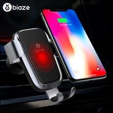 Biaze voiture prise dair Qi chargeur sans fil pour iPhone XS Max X XR 8 charge rapide voiture téléphone support pour samsung Note 9 S9 S8