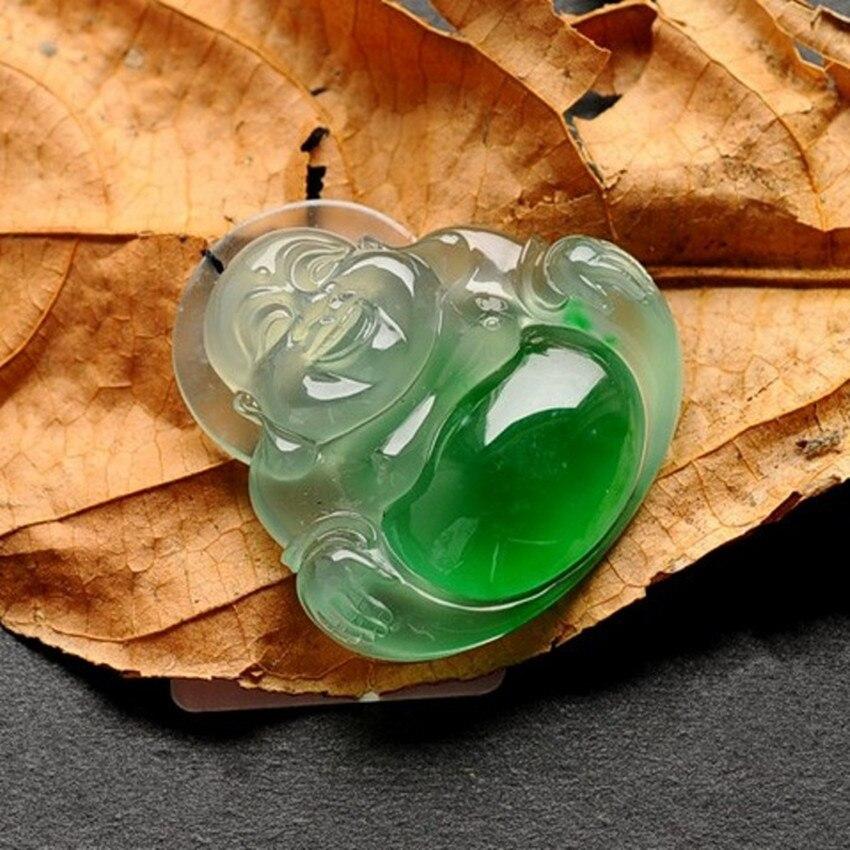 Naturel myanmar yu fo mâle pendentif ancienne fosse A marchandises glace graine Yang vert yu fo yu accrocher collier de style féminin/