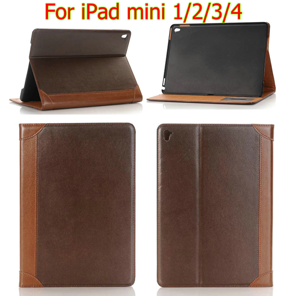 HQ luxury Retro Mix Colors Leather Case For iPad mini 1/2/3 for ipad mini 4 Smart Cover for ipad mini retina leather case+film
