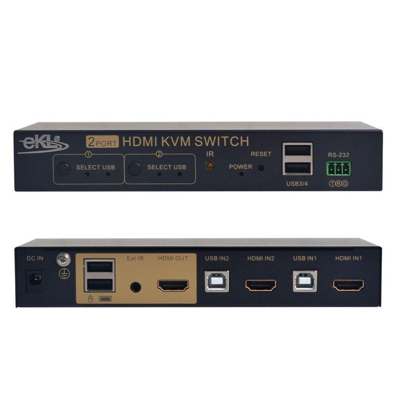 EKL 2 port HDMI Switch Auto Scan USB KVM Switcher HD display