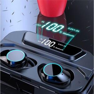Image 2 - 最新の X6 Led ディスプレイワイヤレス Bluetooth イヤホンタッチ Contral ワイヤレスイヤフォンで 3300 mah 充電スマート電話