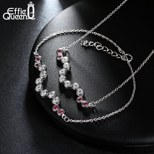 Effie Queen Wholesale Price Jewelry Set Platinum Plated Fashion Crystal Zircon Necklace+Bracelet Set for Women WS83