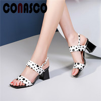 CONASCO Concise Elegant Polka Dot Summer Sandals Women Sexy Pumps Square High Heels Genuine Leather Classic Sandals Shoes Woman
