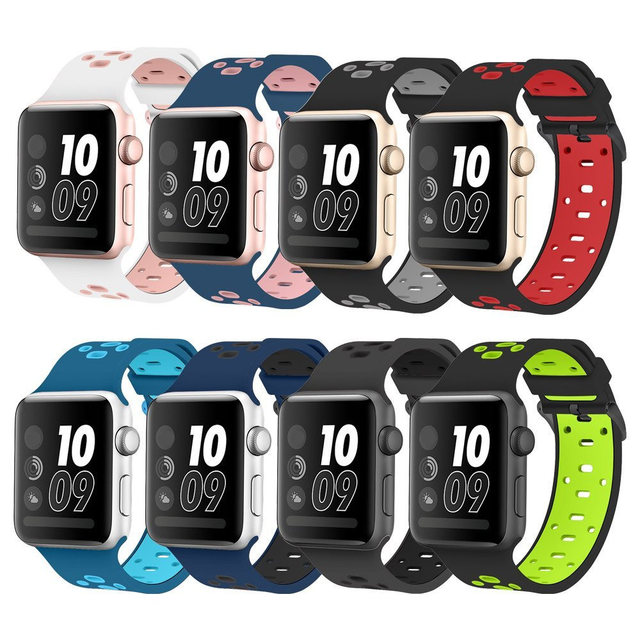 Silicona banda para apple watch iwatch 3/2/1 42mm/38mm pulsera Correa + Acero inoxidable accesorios adaptador