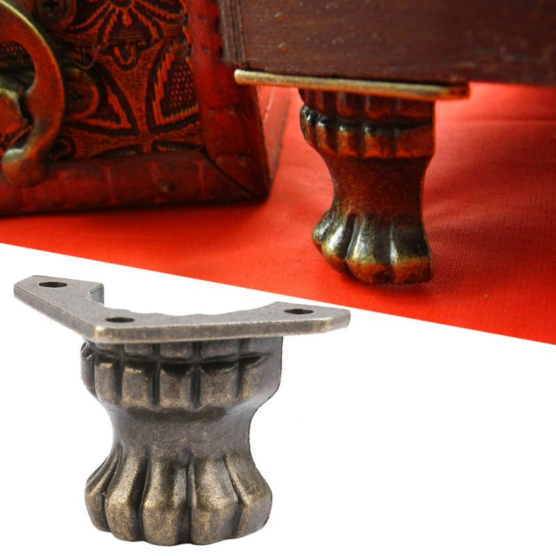 4pcs Antique Copper Wooden Box Foot Leg Decoration Protection Art Wine Box Metal Foot Furniture Leg Hardware Bat Shape