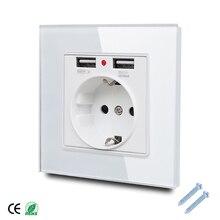 Настенная розетка 86*86 мм со стеклянной панелью европейского стандарта, с 2 USB портами 2,1 А, электрическая настенная розетка 16 А, 2100 мА