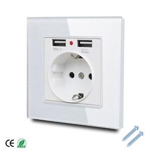 Image 1 - 86*86mm Glas Panel EU Steckdose mit 2,1 EINE 2 USB Lade Ports, 16A 2100mA Elektrische Wand Steckdose