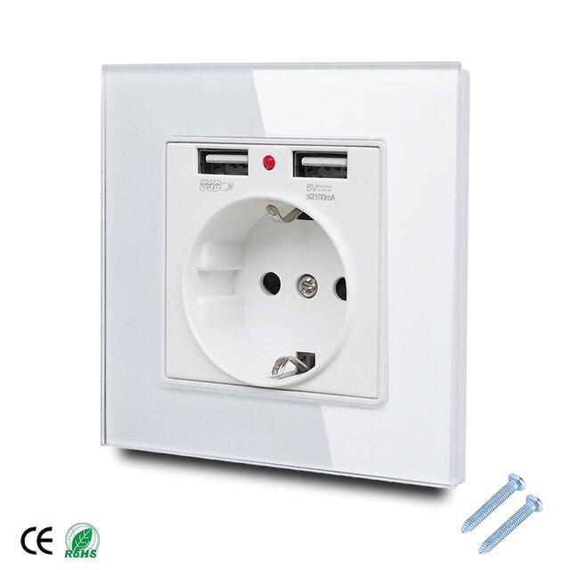 86*86mm Glas Panel EU Steckdose mit 2,1 EINE 2 USB Lade Ports, 16A 2100mA Elektrische Wand Steckdose