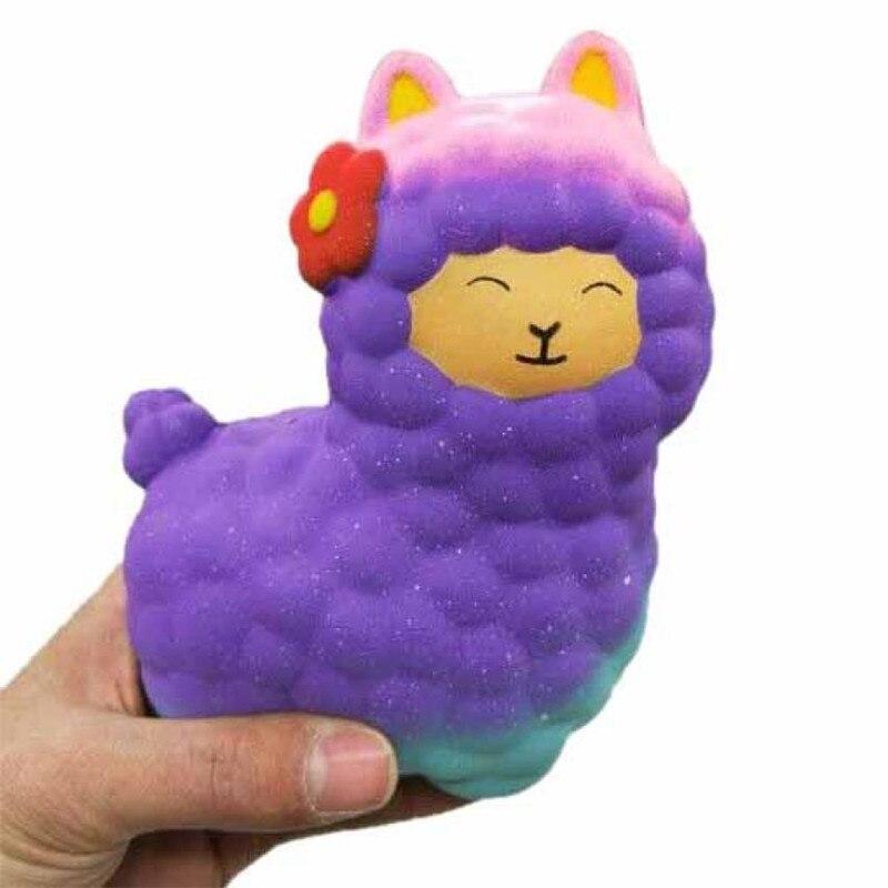 17CM colorful Novelty Toy Anti-Stress Pu Jumbo Sheep Squishy Cute Alpaca Galaxy Super Slow Rising Scented Fun Stress gift #35