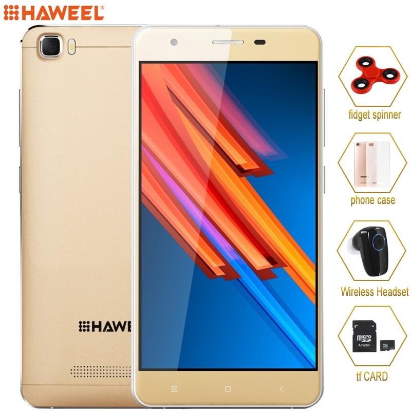 Цена за 4 г оригинальный смартфон haweel h1 pro 1 ГБ/8 ГБ mtk6735 quad core до 1.2 ГГц Мобильный Телефон 5.0 ''2300 мАч Мобильный Телефон с Телефона случае