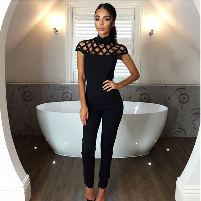 Summer Sexy Women Round Neck Sleeveless Drained Pocket Solid Color Hollow Skinny Women Jumpsuits