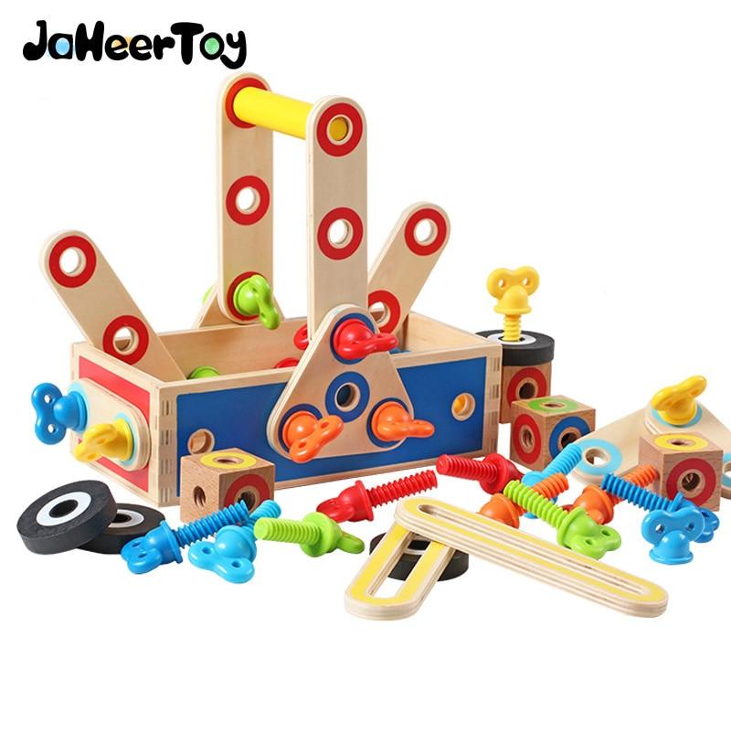 JaheerToy Educational Toys Geometric Assembling Blocks Baby Toys Tool Box Robot Truck Assemblage for Boys jaheertoy montessori educational toy white cube wooden toys small blocks geometric assembling block for children for kids