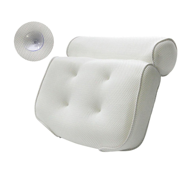 1PC 3D Spa Bath Pillow Neck Shoulders Supports Waterproof Comfy Massage Bathtub Cushion with Suction Cup Bathroom Supplies