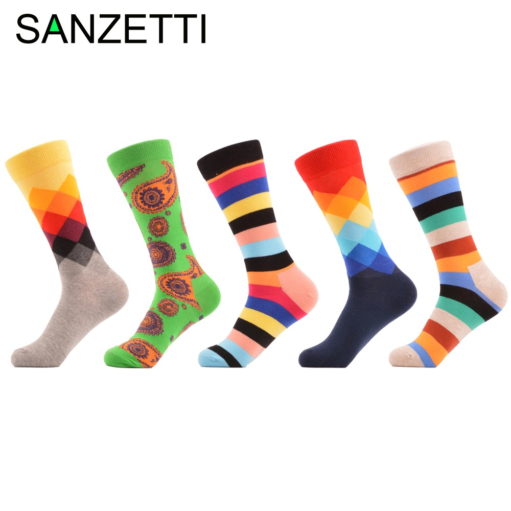 SANZETTI 5 pair/lot Mens Colorful Argyle Striped Combed Cotton Socks Dress Crew Socks Autumn Winter Warm Casual Socks