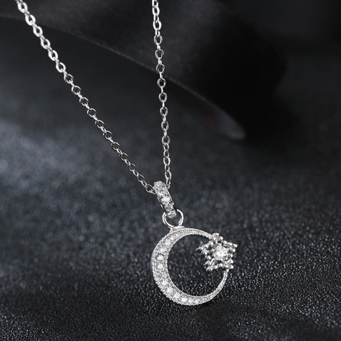 Daisies 925 sterling silver necklace charms simple design chain daisies 925 sterling silver necklace charms simple design chain crystal moon star pendant necklace fashion jewelry in pendant necklaces from jewelry aloadofball Image collections