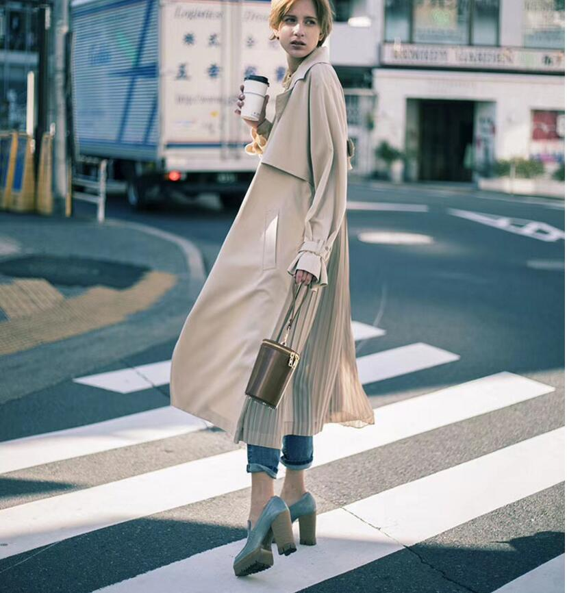 "British style Long Sleeves Autumn pleated coats women""s Long sleeve windbreaker overcoats abrigo mujer 3"