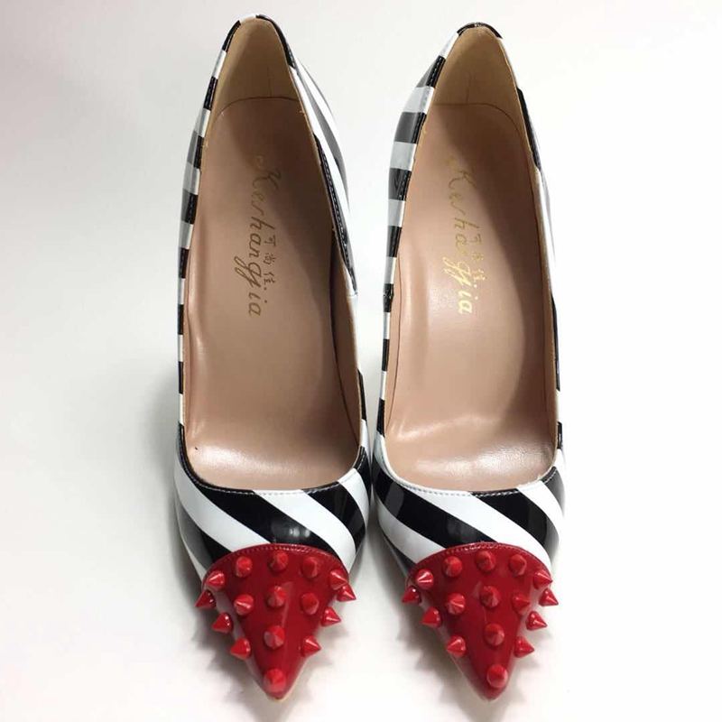 2018 Zebra pointed toe lady pumps pu leather red rivet woman High heeled pumps sexy slip