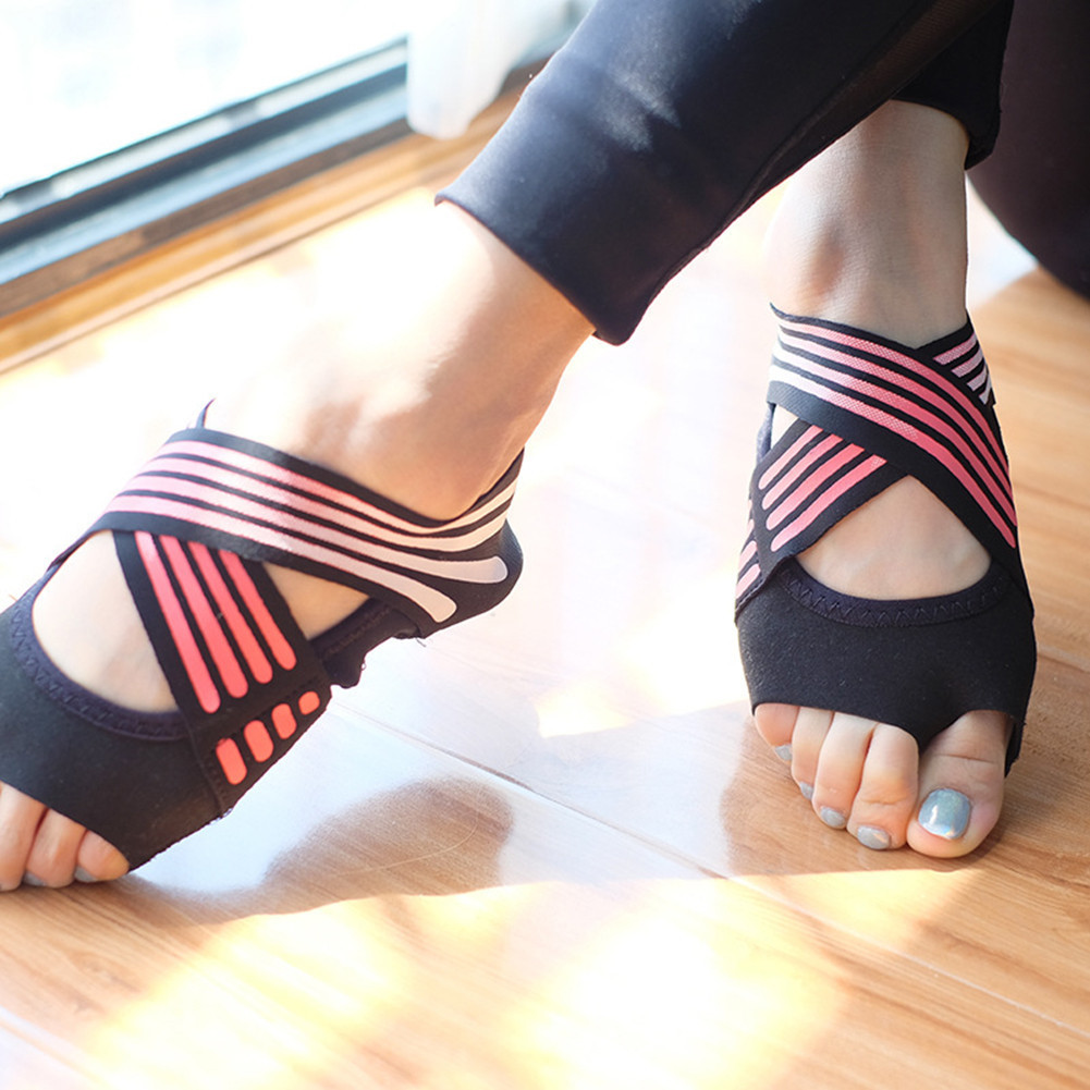 Fitness & Bodybuilding Frauen Nicht-slip Fitness Dance Pilates Socken Professionelle Innen Halb Zeh Yoga Schuhe Neopren Pilates Ballett Tanzen Socken Toning-schuh