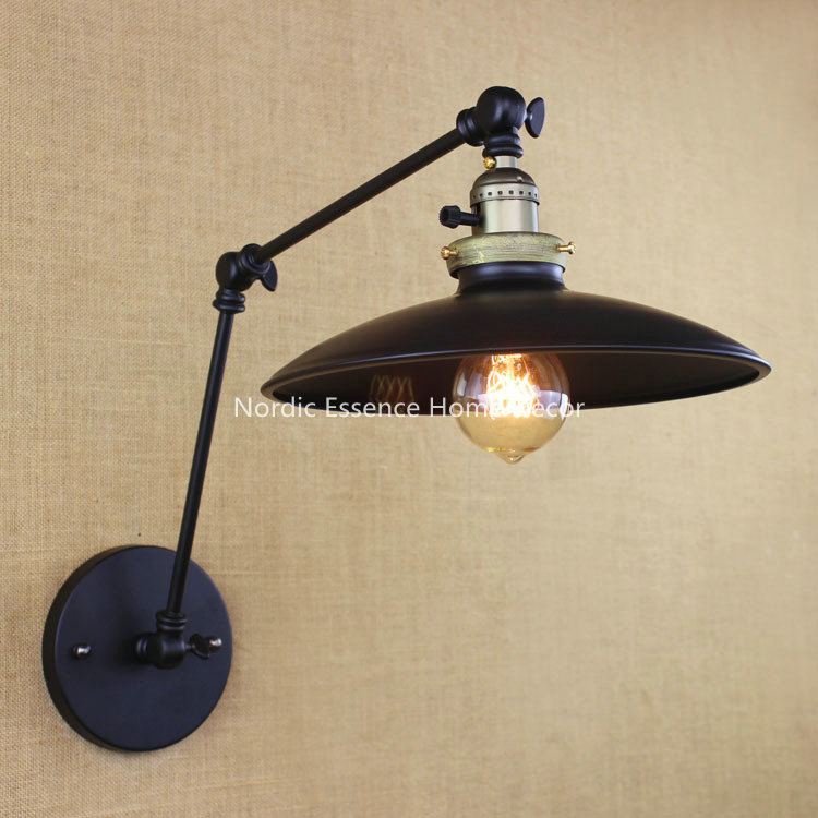 Nordic LOFT American Industrial minimalist retro bedroom cafe bar restaurant hotel bedroom long arm Iron LED Wall sconce lamp